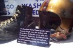 Red Grange game-worn shoes and helmet
