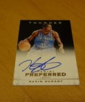 Kevin Durant 2011-12 Panini Preferred Panini Signatures Black Auto #1/1 SOLD $1,625