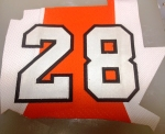 Claude Giroux game-worn shoulder number.