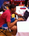 Anthony Davis takes over the Panini America Twitter account.