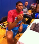 Anthony Davis shows off his penmanship.