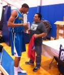 Anthony Davis talks with Panini America VP of Marketing Jason Howarth.