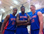 The New Pistons: Kim English, Andre Drummond and Kyle Singler.