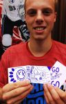 Mark Visentin with his sketch-card tribute to Blink 182.