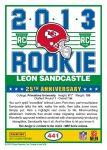 Leon Sandcastle Score Rookie Card Back Blog