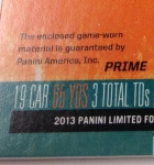 Panini America 2013 Limited Football Game Day Materials Main 10