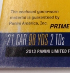 Panini America 2013 Limited Football Game Day Materials Main 2