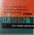 Panini America 2013 Limited Football Game Day Materials Main 4