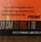 Panini America 2013 Limited Football Game Day Materials Main 6
