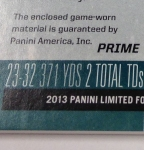 Panini America 2013 Limited Football Game Day Materials Main 8