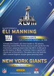 New York Giants Panini America Super Bowl XLVIII Collection Back (1)