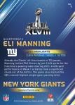 New York Giants Panini America Super Bowl XLVIII Collection Back (1)